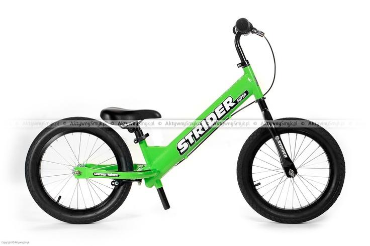 Zielony rowerek biegowy Super Strider SS-1 posiada regulację siodełka od 45 cm, regulowaną na wysokość kierownicę bez blokady kąta skrętu, szprychowe koła z pompowanymi oponami 16 cali o płytkim bieżniku, zacisk siodełka z szybkozamykaczem do wygodnej regulacji oraz duże antypoślizgowe naklejki na tylnym widelcu podtrzymujące zmęczone stopy rowerowego biegacza. Super Strider waży ok. 6,8 kg. http://www.aktywnysmyk.pl/160-rowerki-biegowe-super-strider