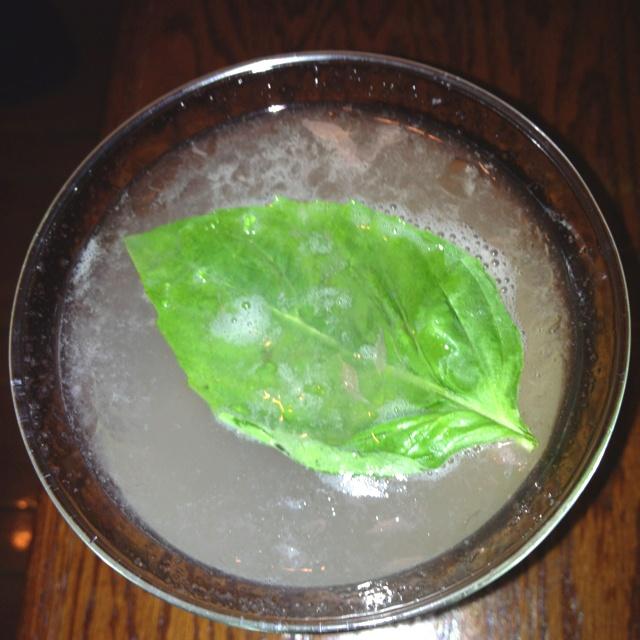Grapefruit martini with basil leaf - bonefish grill