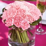Never thought carnations would look so pretty as a wedding centerpiece!