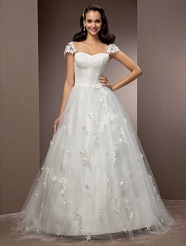 Ball Gown Sweetheart Court Train Tulle Wedding Dress Easebuy! Free Measurement!