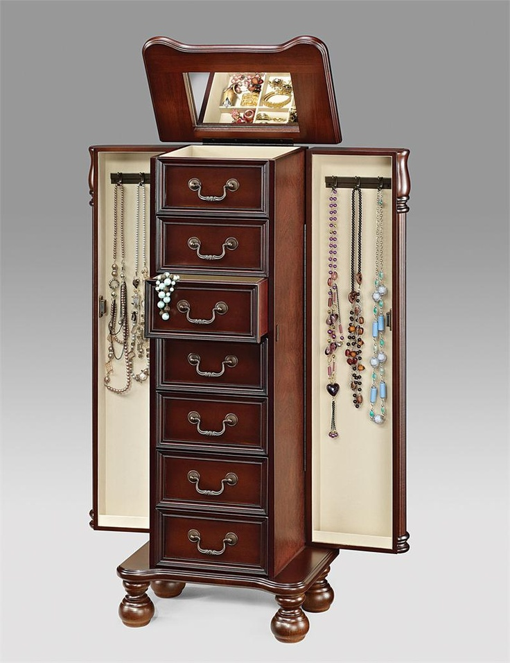 18 best images about jewelry armoires on pinterest queen for Solid wood jewelry armoire mirror