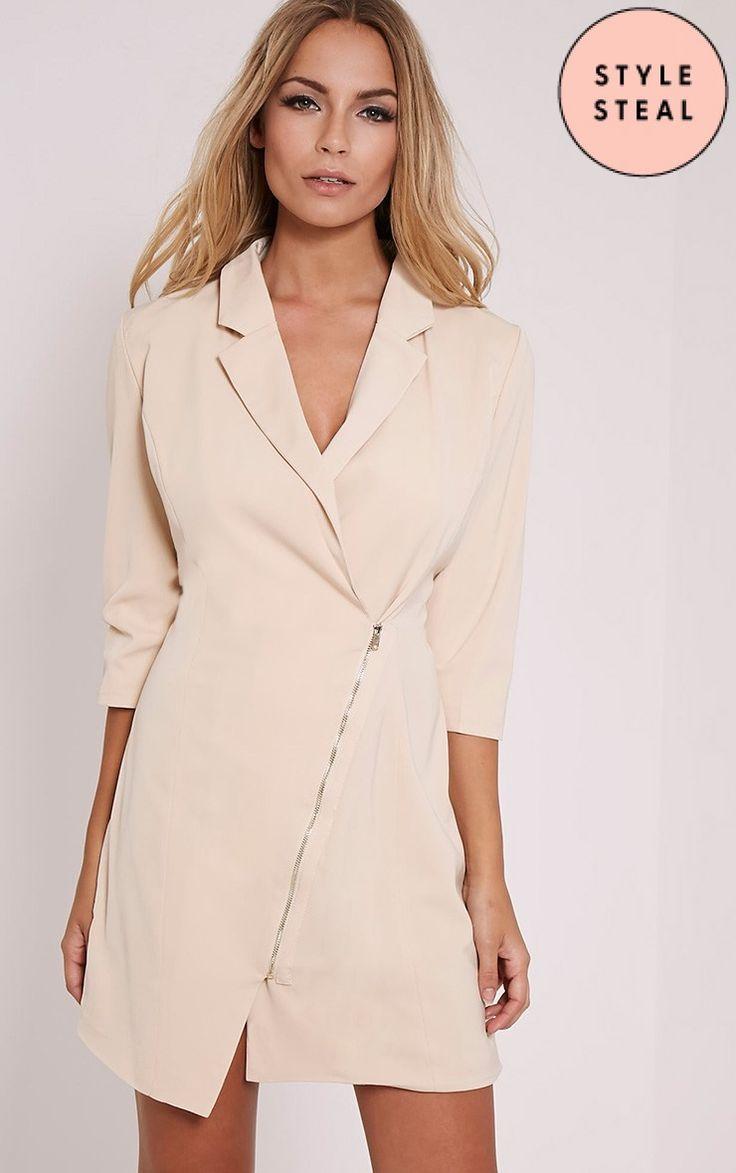 Maryam Nude Longline Asymmetric Zip Front Blazer Dress