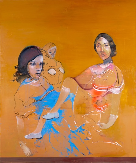 Cathrine Raben Davidsen  (Secrets) 2008 / Oil, crayon, pastel, spray on canvas  240 x 200 cm / 94.5 x 78.7 inches