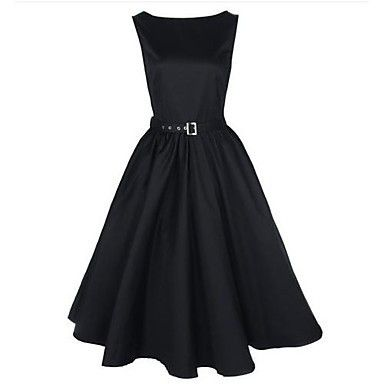 Black Vintage Audrey Hepburn Womens Swing Dress