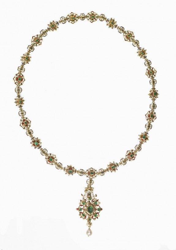 Jeweled Collar Made Of Gold, Enamel, Emeralds And Diamonds - Italian Or Spanish c.1550-1600 (Renaissance)