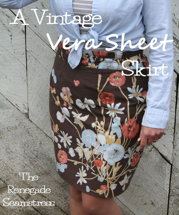The Renegade Seamstress turned a Vintage Vera sheet set into a cute skirt.