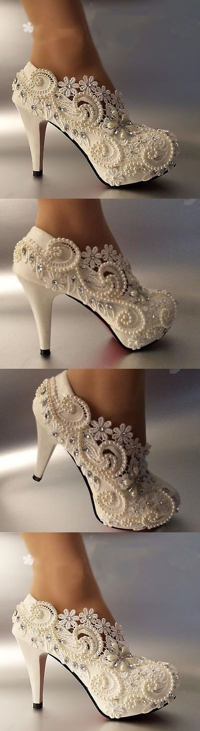 Wedding Shoes And Bridal Shoes: 3 4 Heel White Ivory Lace Crystal Pearls Wedding Shoes Pumps Bride Size 5-11 -> BUY IT NOW ONLY: $39.99 on eBay!