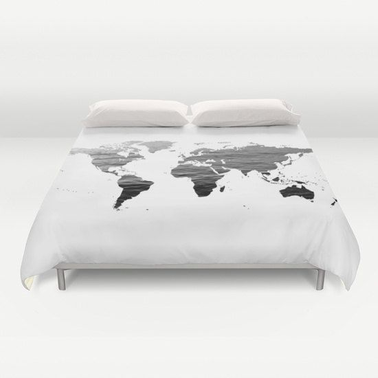 Ocean Texture Map Duvet Cover, Decorative bedding, World Map Bedding, bedroom blanket, Black White Bedding, Dorm Bedding, Modern Bedding