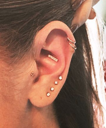 Minimalistic, geometric designs that will make you feel feminine and badass - unique conch with tragus and double helix