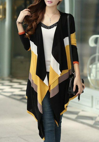 Stylish Striped Color Block Asymmetric Knitted Cardigan For Women