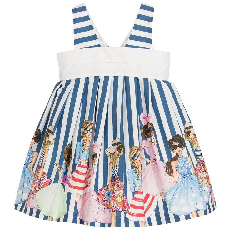 Balloon Chic Girls Blue Stripe Cotton Dress  at Childrensalon.com