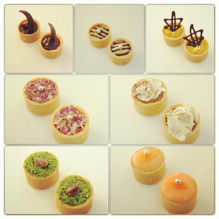 Our new Tartelettes, part of the Petits Fours collection, are our newest creation!    With flavors such as chocolate, vanilla, rose, orange blossom, pistachio, halwa, and rahash these will surely make your mouth water.