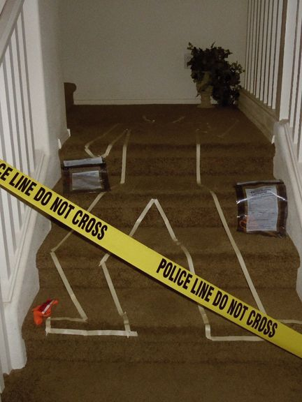Murder mystery party crime scene - see tips from hostess of Murder of a Millionaire