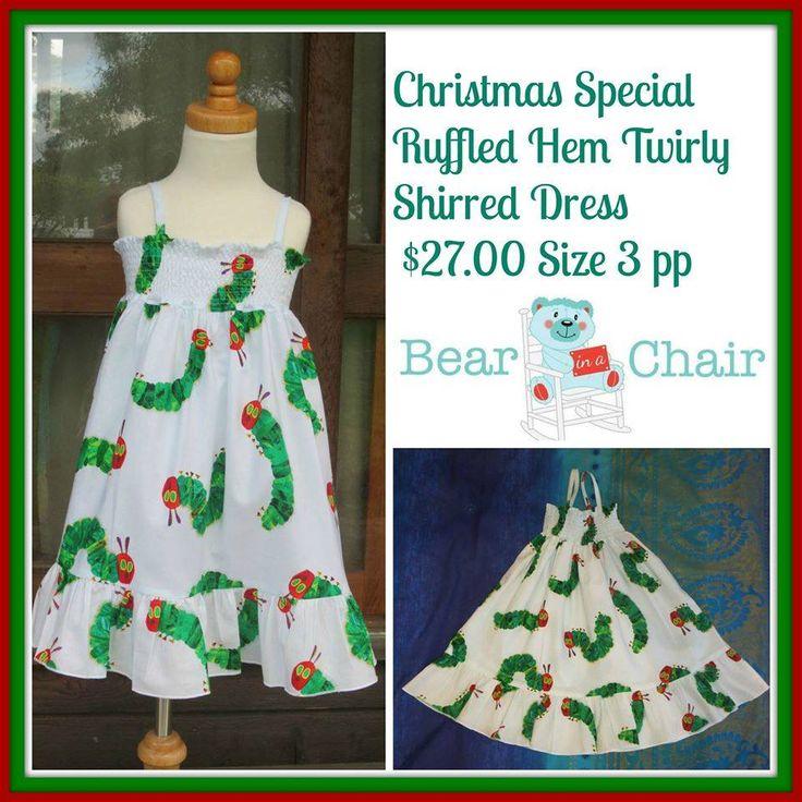 Handmade By Bear In A Chair  Christmas Special Ruffled Hem Twirly Shirred Dress