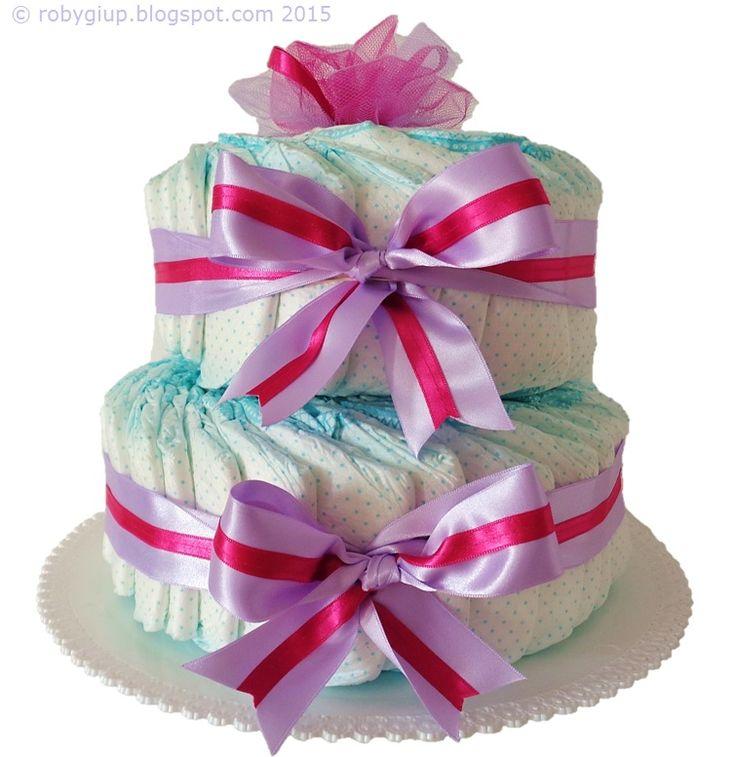 Torta di pannolini in lilla e rosa acceso: bellissimo regalo di nascita per una bimba! - Diaper cake in lilac and pink, great baby shower gift! - RobyGiup handmade #newborn #mother #parents #useful #gift #idea