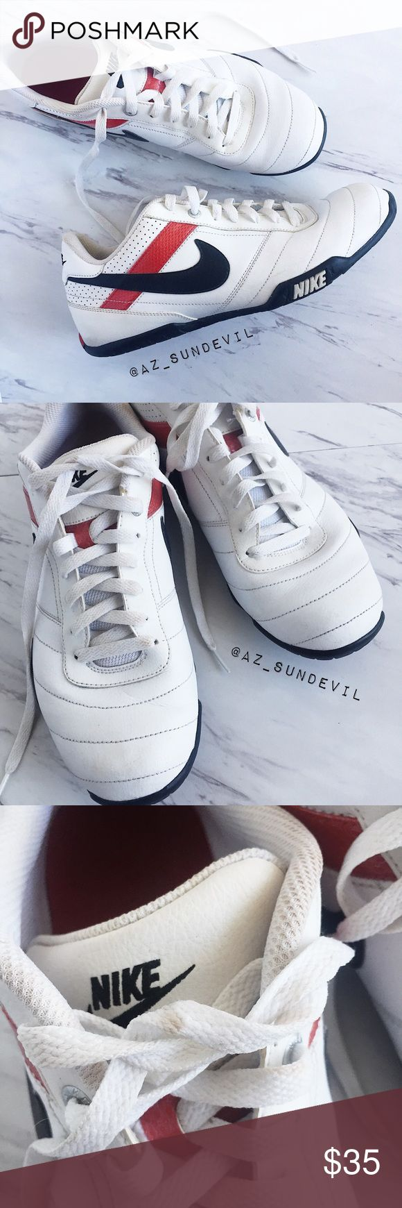 Nike Street Pana II Shoes Nike | 'Street Pana II' casual sneaker. White with black Nike swoosh and red stripe. Slight stains from wear as shown in photos but in otherwise very good used condition.   Size: 11 Nike Shoes Sneakers