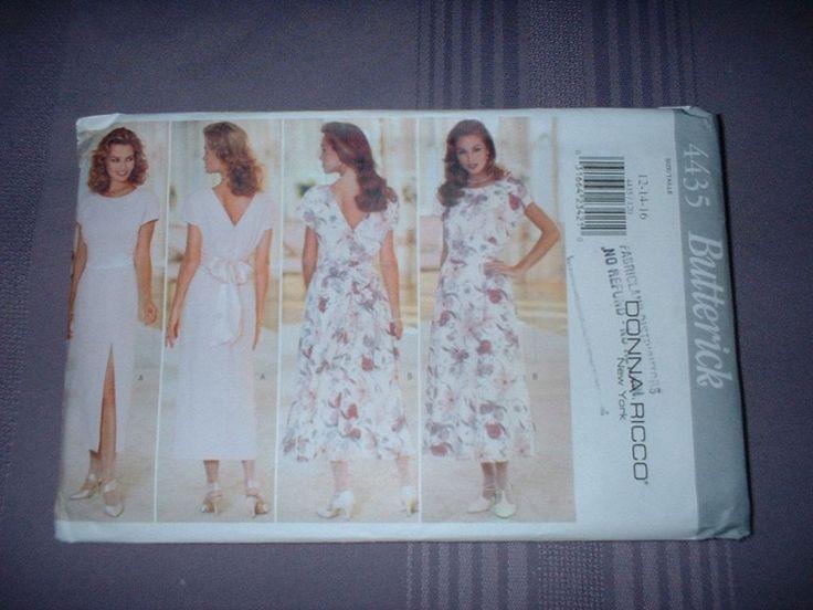 BUTTERICK PATTERN 4435 ~ LADIES DONNA RICCO DRESS ~ 2 STYLES  ~ SZ 12-16 ~ NEW  #Butterick