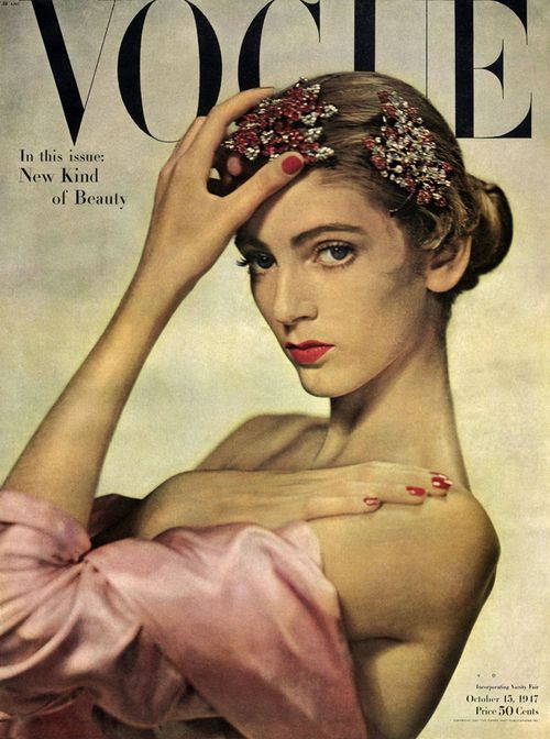 Carmen Dell'Orefice photographed by Erwin Blumenfeld for Vogue, October 1947 (British Vogue, Feb. 1948)