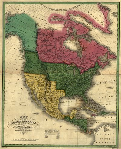 North America 1826, United States, Canada, Central America, Mexico, Cuba, Antique Historical Map, Created D. H. Vance