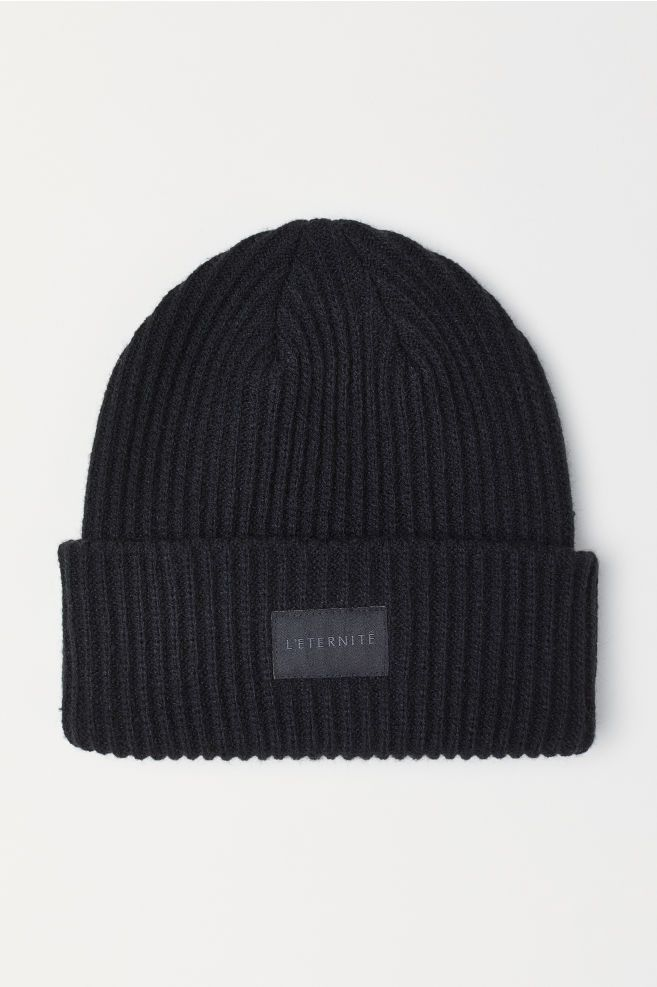 473dc8c46 Rib-knit Hat in 2019 | ~clothes~ | Knitted hats, Black beanie, Hats