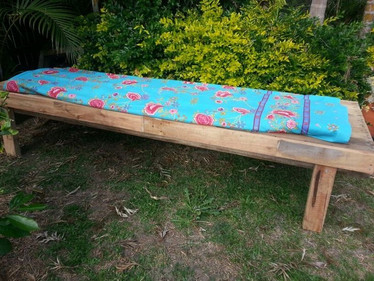 Ourdoor day bed made from recycled timbers