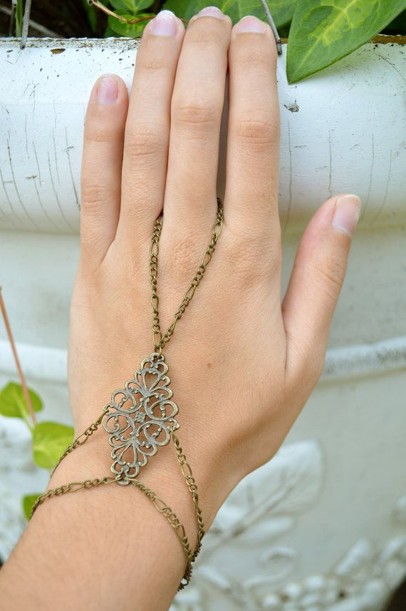 Hand Chain // Slave Bracelet // Bohemian Hand Jewelry // Boho // Bracelet // Antique Bronze Filigree on Etsy, $16.00