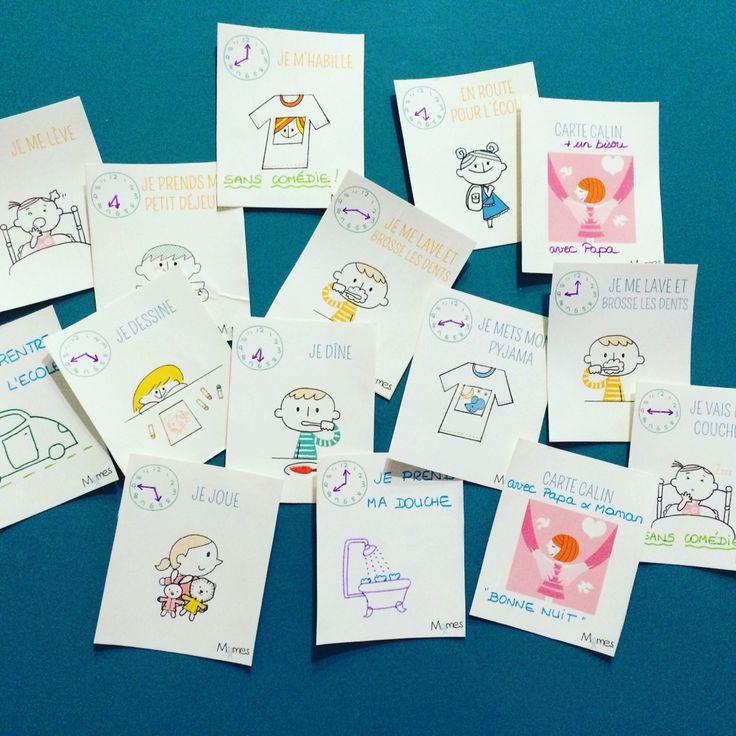Petites cartes des rituels du matin et du soir... À imprimer et personnaliser
