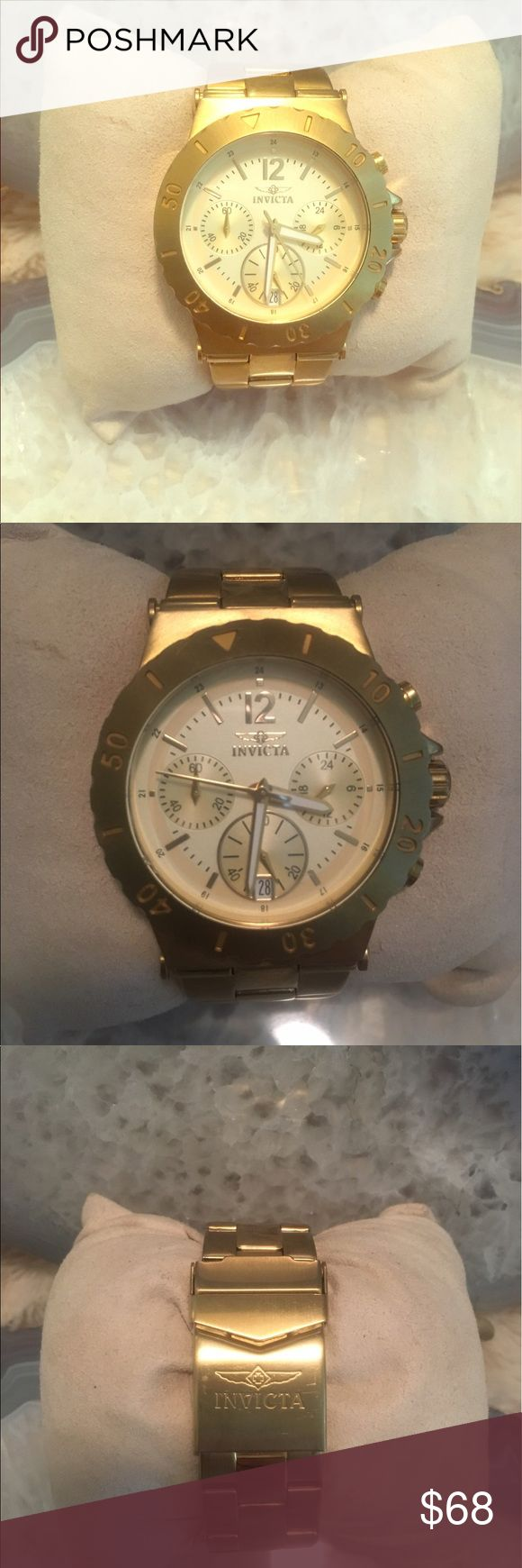 💯Authentic Invicta gold watch Gold on gold pre loved watch but in great condition and with brand new battery Invicta Accessories Watches