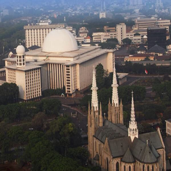 Istiqlal Mosque and Cathedral, side by side
