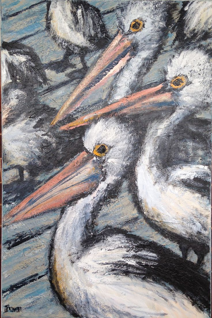 Pelican Parade Kingscote Wharf Kangaroo Island, Acrylic on canvas 2014. Ingrid Bowen Art
