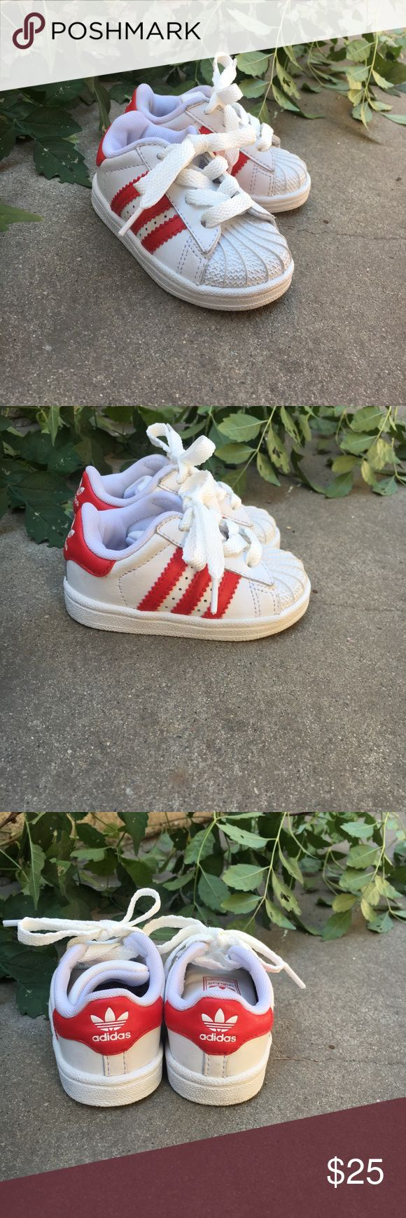 Adidas Shell Top Sneakers Adidas shell top sneakers. White with red stripes. These shoes are in perfect condition. There are some little toe marks inside the shoes, but that is the extent of the wear that is on the shoes. adidas Shoes Sneakers