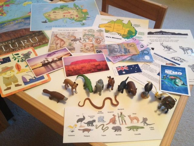 What's in the box: Alaminated map of the world that we write on with dry erase markers Laminated miniature flag and country fact sheet Printed Australiancurrency Australianlandmark cards andAro...