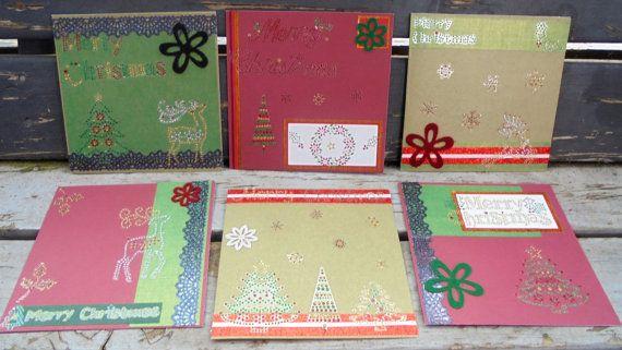 Christmas Bling  set of 6 handmade cards by RogueKissedCraft