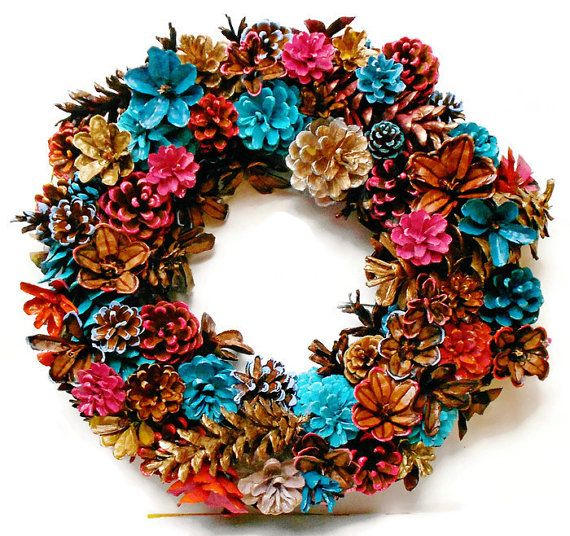 Handmade Spring/Summer Pine Cone Wreath Center Piece 14 by EacArt