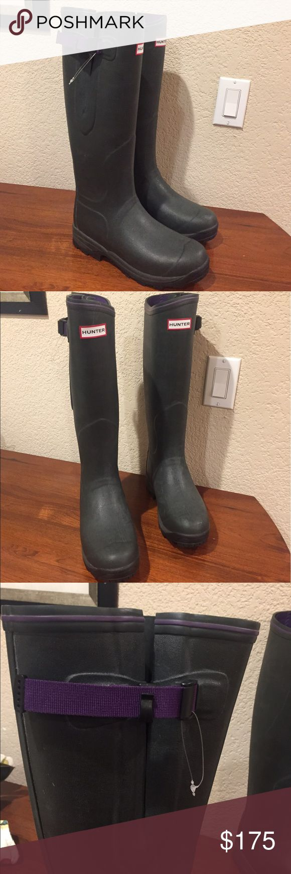 Hunter balmoral neoprene lined boots NWOB Hunter balmoral neoprene lined boots NWOB brand new never worn boots hunter green with purple adorable and warm! Perfect for spring! ☔️ euro 39 Hunter Shoes Winter & Rain Boots