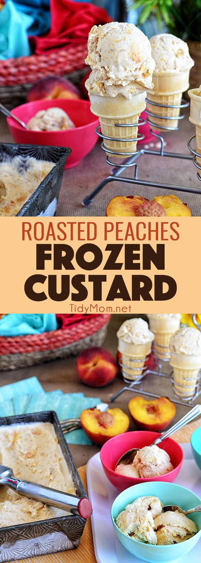 When the days are filled with bike rides, swimming, frozen treats and fresh fruit .....combine the signs of summer into a delicious creamy Roasted Peach Frozen Custard.  Serve in a cone or a bowl, either way it's sure to cool you off. find this easy homemade frozen custard recipe at TidyMom.net