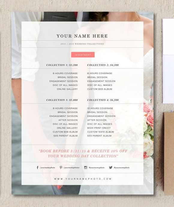 Wedding Photographer Price List by Design by Bittersweet on @creativemarket