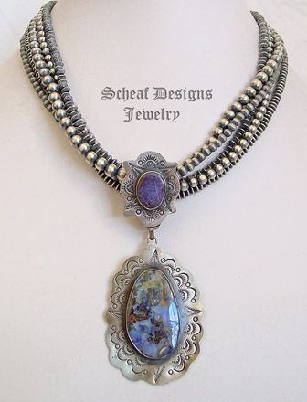 Schaef Designs blue boulder opal & hand stamped sterling silver pendant | Schaef Designs turquoise jewelry | New Mexico