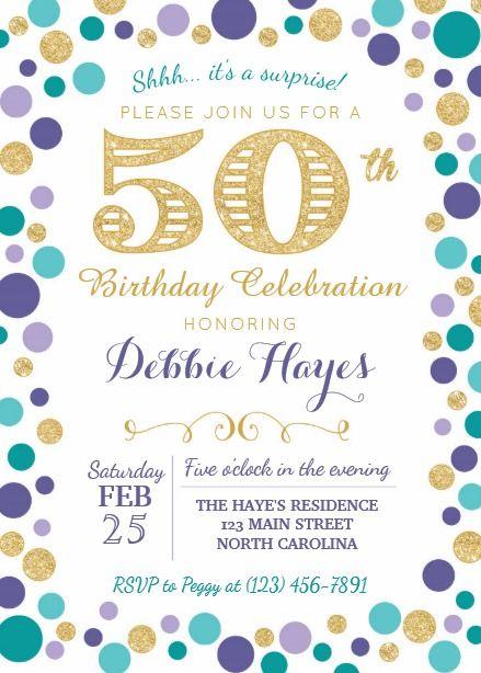 50th surprise birthday party invitation 50th birthday invitations