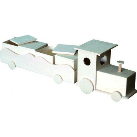 Tren con vagón en madera en crudo, ideal para pintar y decorar