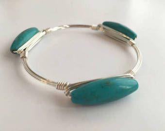 Yellow Sea Glass Wire Wrapped Bangle Wire Wrap Bracelet Wire