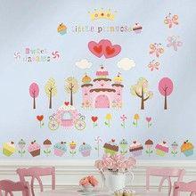 Wall stickers Prinsesseslot og kager wallsticker