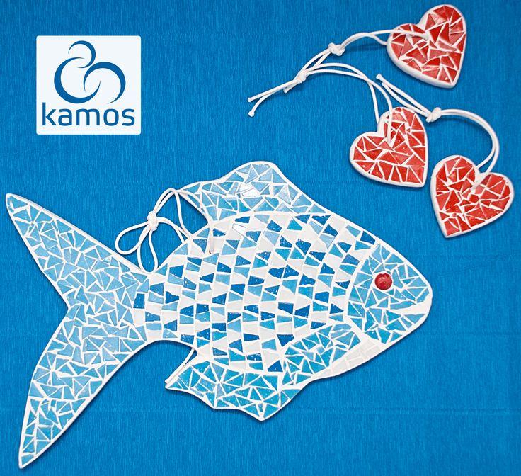 """Наша Рыбка влюбилась... :)   Настенный декор """"Рыбка"""" - M10027 http://www.kamos.com.ua/m10027 Сувенир """"Сердце"""" - M10033 http://www.kamos.com.ua/m10033  #mosaic #kamos_mosaic #fish #love #heart #decor #art #мозаика #рыба #любовь #сердце #декор"""