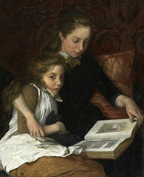 Two Girls Reading - Early 20th century by Arthur George Walker