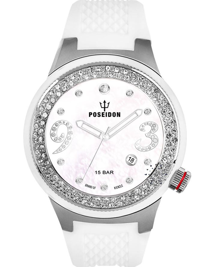 POSEIDON Crystal Ladies White Silicone Strap Τιμή: 149€ http://www.oroloi.gr/product_info.php?products_id=34119