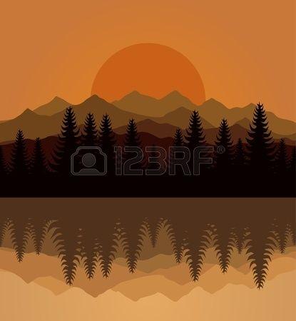 Sunset on mountain lake  Stock Vector