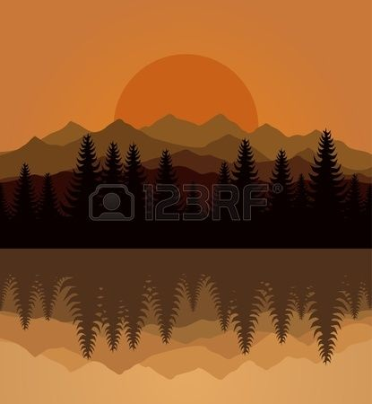 Sunset on mountain lake  Stock Vector