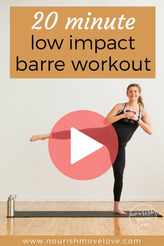 A low impact barre workout perfect for everyone; pregnant, postpartum, bad knees, or just need a low impact workout to sculpt and tone at home. A 20 minute workout that's easy on the knees but challenges your fitness. Combines traditional barre movements with strength training exercises to sculpt, tone, burn calories. Upper body, lower body, shoulders, squats, triceps, biceps, and booty work!