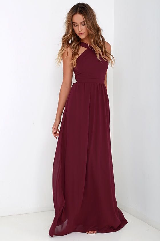 Air of Romance Burgundy Maxi Dress will have you feeling the love!  $68  Lightweight Georgette falls from a modified halter neckline, into a seamed bodice supported by semi-sheer shoulder straps. A sweeping skirt cascades from a banded waist completing this elegant maxi dress. Hidden zipper with clasp.