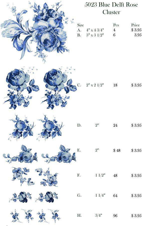 5023 Blue Delft Rose Cluster